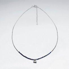 "16.5"" Lapis Lazuli Necklace With Antique Thai Money Silver Charm"