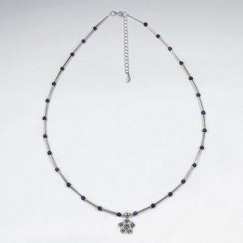 "16.5"" Lapis Lazuli Necklace With Sakura Silver Pendant"