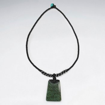 "16.5"" Modern Black Waxed Cotton Necklace With Turquoise Rectangle Charm"
