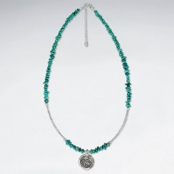"16.5"" Nugget Turquoise Necklace With Om Silver Pendant"