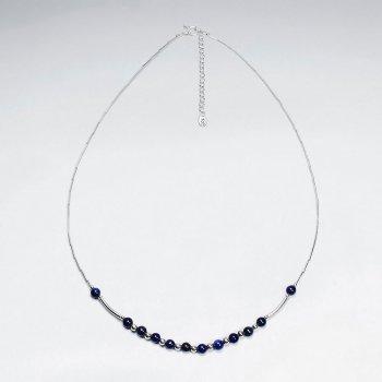 "16.5"" Round Lapis Lazuli Silver Necklace"