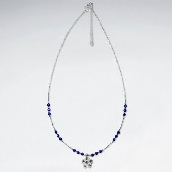 "16.5"" Round Lapis Lazuli Silver Necklace With Antique Sakura Silver Charm"