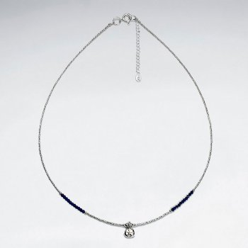 "16.5"" Round Lapis Lazuli Silver Necklace With Antique Silver Charm"