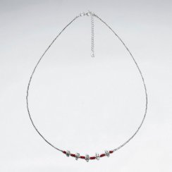 """16.5"""" Round Red Glass Bead With Antique Silver Tube Necklace"""