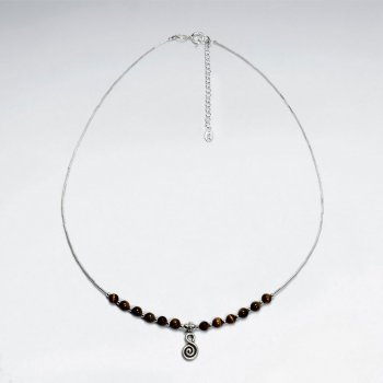 "16.5"" Round Tiger Eye Silver Necklace With Antique Spiral Silver Charm"