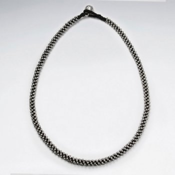 "16.5"" Thick Black Waxed Cotton Silver Bead Necklace"