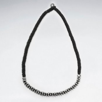 "16.5"" Thick Black Weave Waxed Cotton Necklace With Accent Silver"