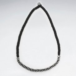 """16.5"""" Thick Black Weave Waxed Cotton Necklace With Accent Silver"""
