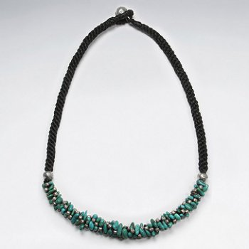 """16.5"""" Thick Wrap Waxed Cotton Twist Macrame Necklace With Turquoise Bead Accent Charms"""