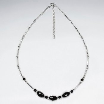 "16.5"" Triple Oval Faceted Black Stone  Silver Pendant"