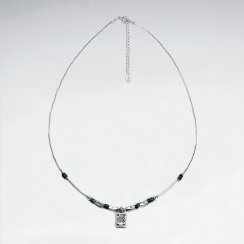"""16.5"""" Turquoise Silver Necklace With Antique Rectangle Silver Charm"""