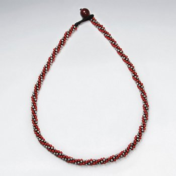 "16.5"" Waxed Cotton Macrame Silver and Glass Red Bead Wrap Necklace"