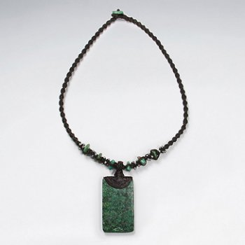 "16.5"" Waxed Cotton Twist Macrame Glass Beads Dark Green Rectangle Charm Necklace"