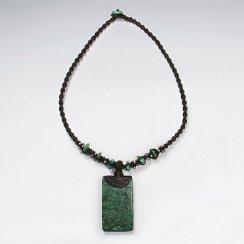 "16.5"" Waxed Cotton Twist Macrame Glass Beads Dark Green Rectangle Charm Necklace"