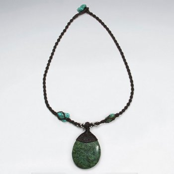 "16.5"" Waxed Cotton Twist Macrame Turquoise Glass Beads Dark Green Charm Necklace"
