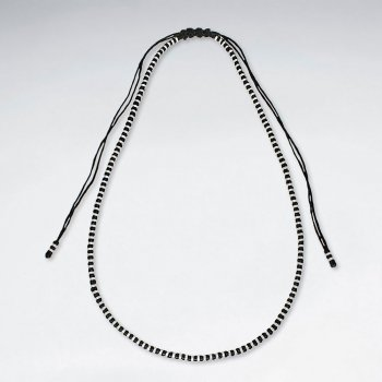 "16"" Adjustable Macrame Waxed Cotton Necklace With Black and Silver Bead Pattern"