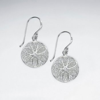 16 mm  Filigree Round Cut Pattern Dangle Silver Earrings