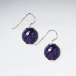 16 mm Round Faceted Amethyst Silver Hook Earring