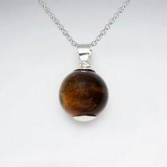 16 mm Round Gemstone Silver Pendant