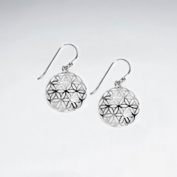 17 mm Dome Flower of Life Silver Dangling Earring