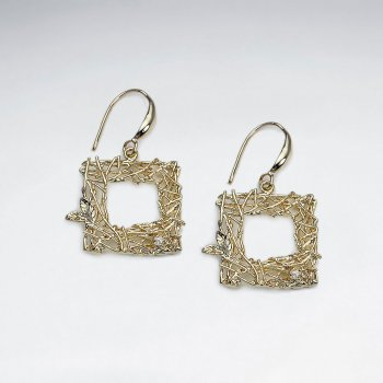 18 K Flash Exquisite Gold Plating Ornate Open Square Drop Dangle Earrings With CZ