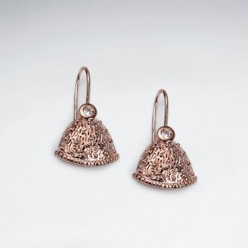 18 K Flash Pink Gold Plating Fashionable Fan Design Dangle Earrings With CZ