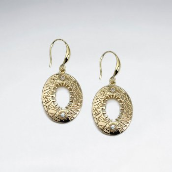 18 K Gold Plating Open Oval Drop Earrings With Shepherds Hook and CZ