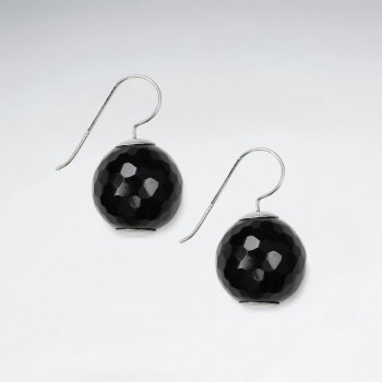 18 mm Round Faceted Black Stone Silver Earring