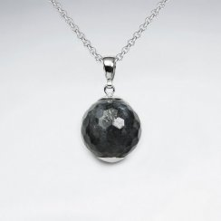 18 mm Round Faceted Labradorite Silver Pendant