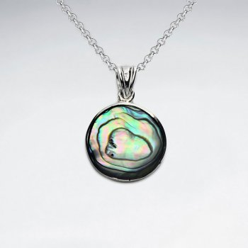 19 mm Round Abalone Silver Pendant