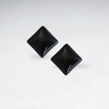 19 mm Square Black Stone Stud Earring