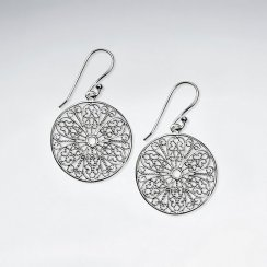 21 mm Filigree Round Cut Pattern Dangle Silver Earrings