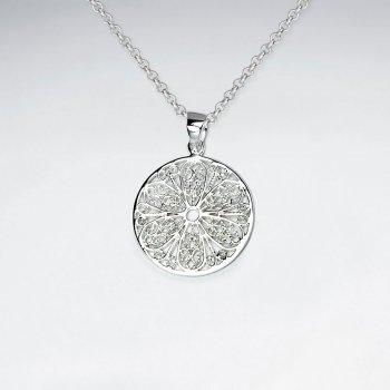 21 mm Round Cut Filigree Pattern Dangle Silver Pendant