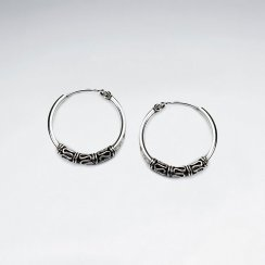 22 mm Oxidized Silver Decorated Hoop Earrings