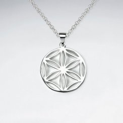 25 mm Flower of Life Sterling Silver Disk Pendant