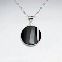 25 mm Round Black Stone Silver Pendant