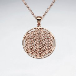 27 mm 18 K Flash Pink Gold Plated Flower of Life Silver Disk Pendant With White CZ
