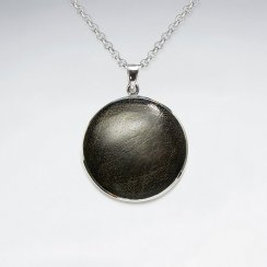 29 mm Black Wood Silver Pendant