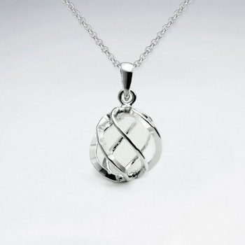 3D Delicate Wirework Open Silver Circle Pendant