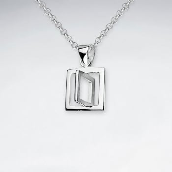 3D Sterling Silver Matte & High Polish Square Pendant
