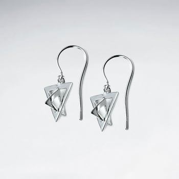 3D Sterling Silver Trangles Hook Earrings