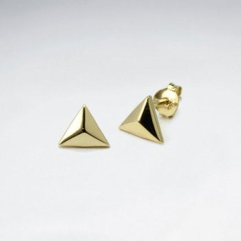 3D Triangle Sterling Silver Stud Earrings