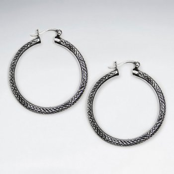41 mm Oxidized Elegant Sterling Silver Textured Graduated Hoop Earrings