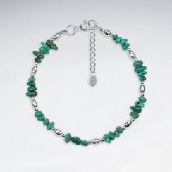 "6.5"" Nugget Turquoise Silver Bracelet"