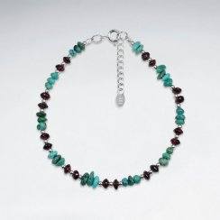 "6.5"" Turquoise And Garnet Silver Bracelet"