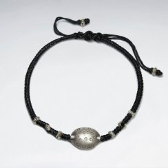 "7"" Adjustable Black Macrame Bracelet  Cotton With Oval Antique Silver Beads"