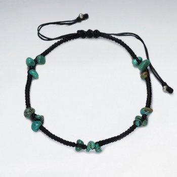 "7"" Adjustable Black Macrame Waxed Cotton Bracelet Turquoise"