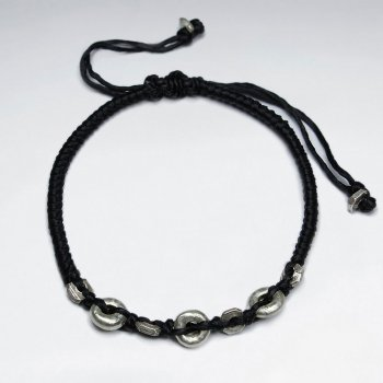 "7"" Adjustable Black Macrame Waxed Cotton Bracelet With Antique Dobut Silver Beads"