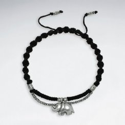 "7"" Adjustable Black Macrame Waxed Cotton Bracelet With Antique Hand Made Beads And Elephant Charm"