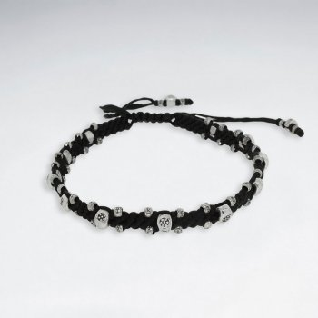 "7"" Adjustable Black Macrame Waxed Cotton Bracelet With Antique Hand Made  Beads"